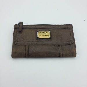 Fossil Leather Brown Long Live Vintage Wallet PC